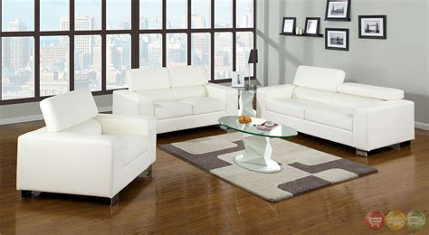 White Leather Living Room Sets Makri Contemporary White Living Room Set With Bonded Leather Match Cm6336wh
