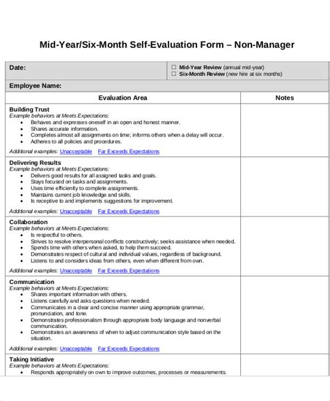 self evaluation template for employees 7 employee self assessment sles exles in word pdf