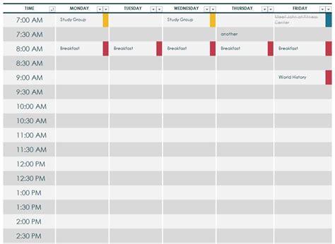 class planner template college class schedule template doliquid