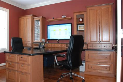 deluxe luxury home office ideas with brown cabinets and