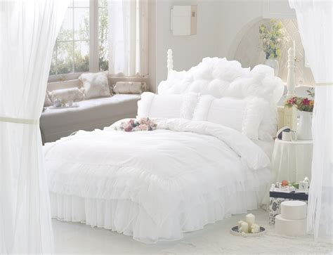 white ruffle lace princess bedding set full queen size