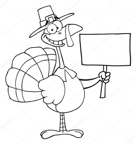 printable blank turkey outlined turkey with pilgrim hat holding a blank sign