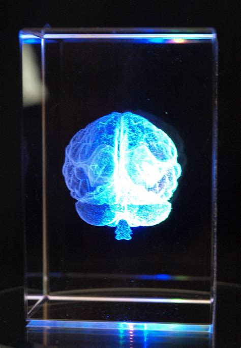 laser engraved crystal with lighted led base crystal cube 3d brain holographic laser etched with 4 led