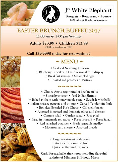 Easter Buffet Brunch 2017 J S White Elephant Buffalo Menu For Brunch Buffet