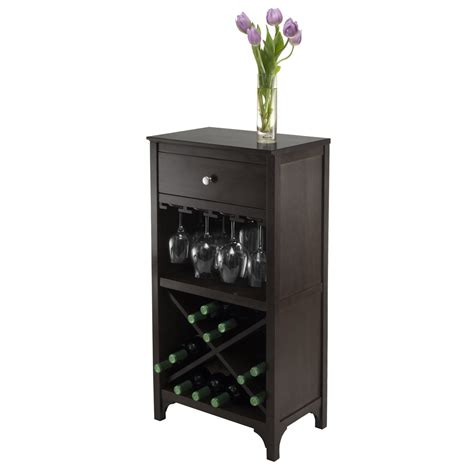 winsome wood ancona modular wine cabinet w one drawer