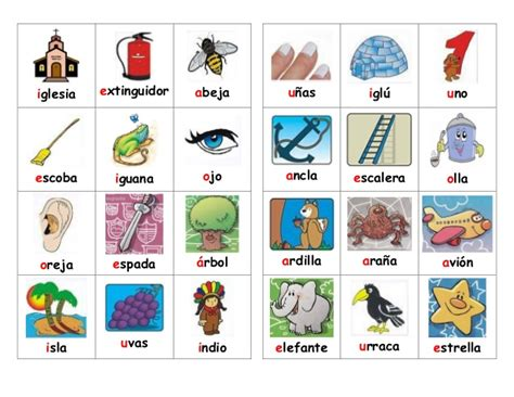 imagenes en ingles con las vocales vocales loteria