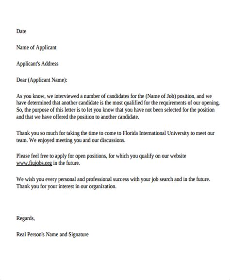 Decline Refund Letter Sle 9 professional rejection letter free sle exle format free premium templates