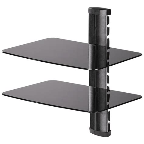 Black Glass Wall Shelf by Dual Glass Component Wall Shelf Black Pdh107