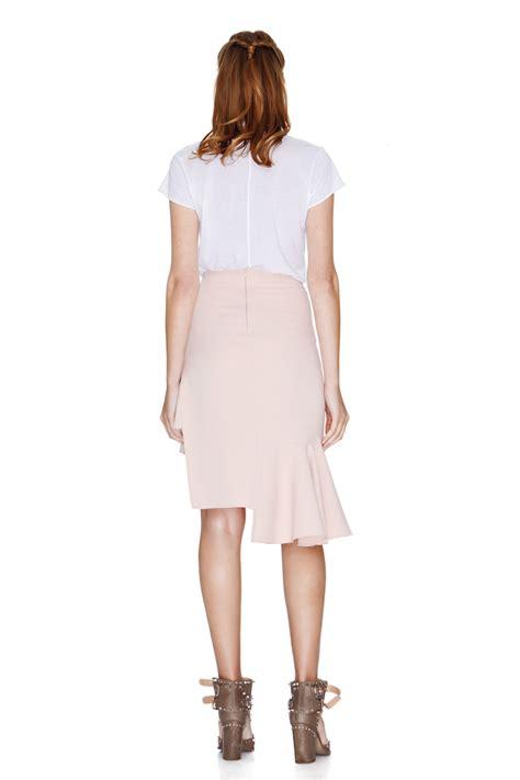 pink asymmetric midi skirt pnk casual