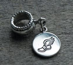 running shoe with wings charm bead pandora compatible