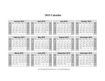 printable calendar horizontal 2015 printable 2015 calendar on one page horizontal shaded