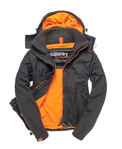 Jaket Windcheater City 1 mens arctic pop windcheater in light charcoal fluro orange superdry