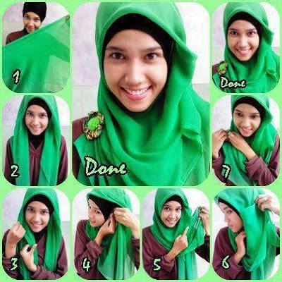 tutorial gambar wanita berjilbab foto tutorial cara memakai jilbab cantik simpel terbaru