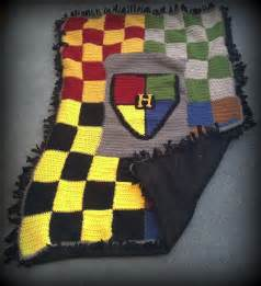 harry potter hogwarts houses crocheted afghan backed with