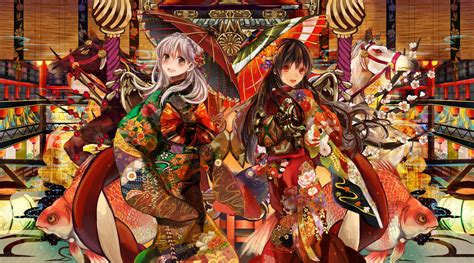 anime girl kimono wallpaper hd wallpapers henachoko original two kimono umbrella anime