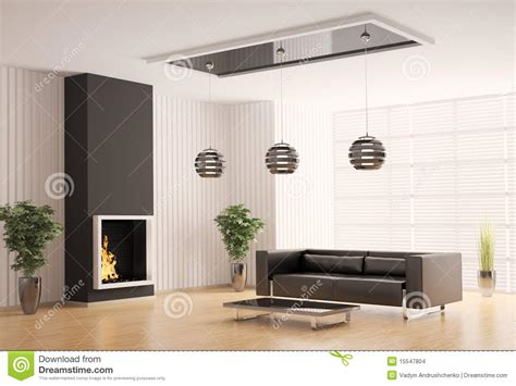 Living Room With Fireplace Interior 3d Stock Images Image: 15547804