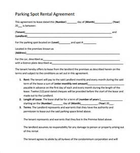 Space Rental Agreement Template Sample Parking Agreement Template 9 Free Documents In