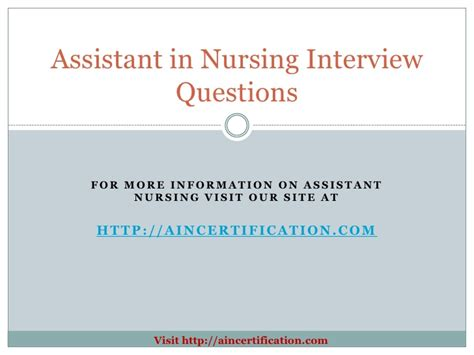 assistant in nursing questions