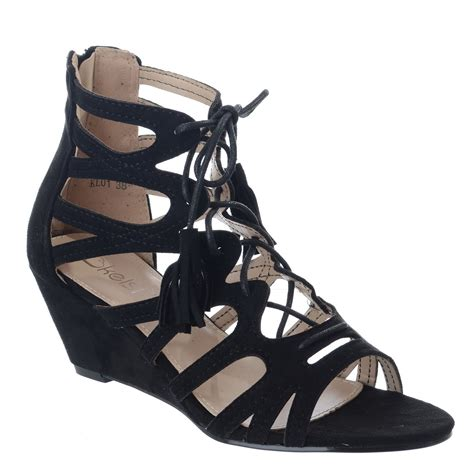 gladiator low wedge sandals womens lace tie up low wedge heel cut out gladiator