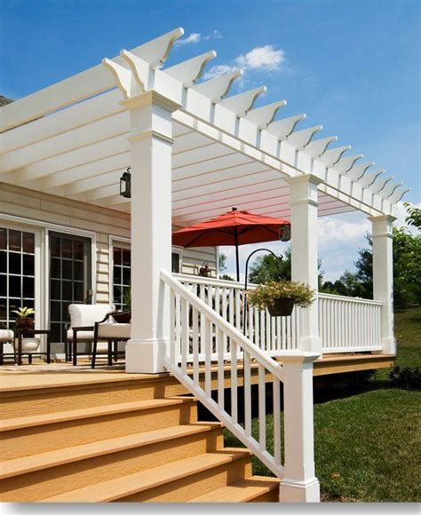 decks with pergolas pergola deck i like the openness but with a wood color maybe no middle colum only do