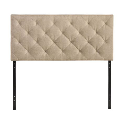 lowes headboard shop modway theodore beige queen linen upholstered