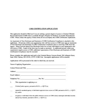 Criminal Offender Record Information Cori Acknowledgement Form Mass Cori Certification Fill Printable Fillable Blank Pdffiller