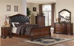 maddison queen sleigh bedroom set with upholstered headboard warm madison grey amp walnut modern digs furniture