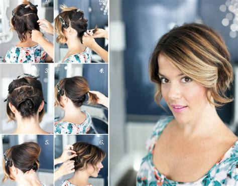 recogido en pelo corto recogido sencillo para cabello corto y media melena