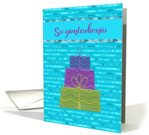Wedding Congratulations In Lithuanian by Happy Birthday In Lithuanian Three Gifts Stacked On Top