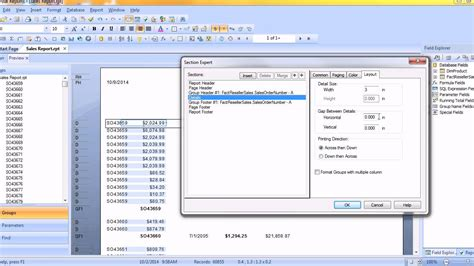 crystal report sections crystal reports creating multiple columns in detail