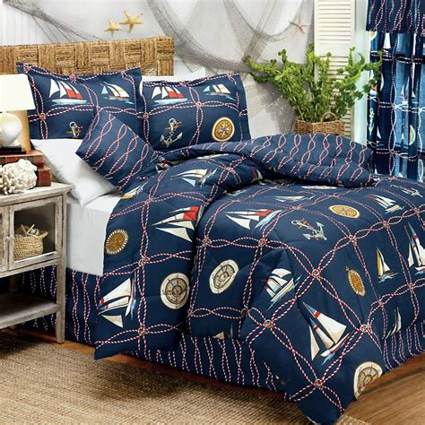 nautical bed sets castaway nautical sailboats full double bed comforter set