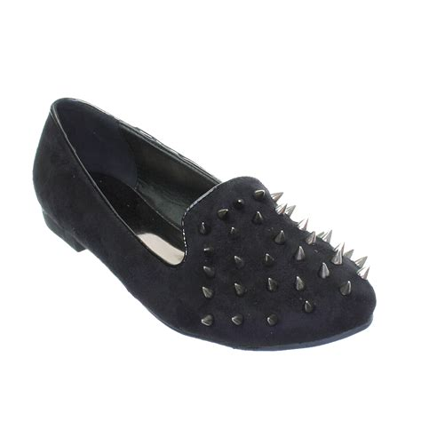 spike flat shoes womens flat spike studded stud slipper loafer ballet pumps