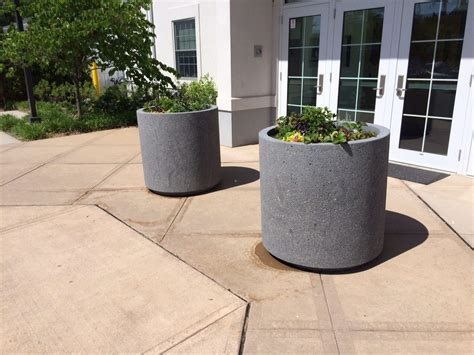 concrete planters round concrete planter w toe kick site furnishings