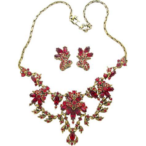 Rhinestone Necklace Earring hollycraft 1952 rhinestone necklace earrings set