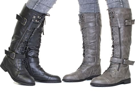combat boots womens knee high lace up army size 4 9