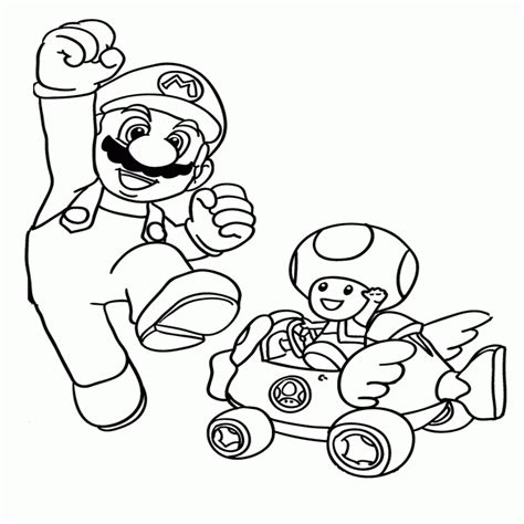 mario kart coloring pages luigi toad mario kleurplaat