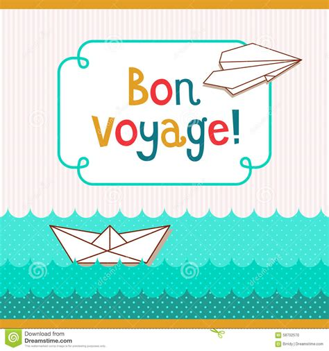 bon voyage card template bon voyage card stock vector image of paper airplane