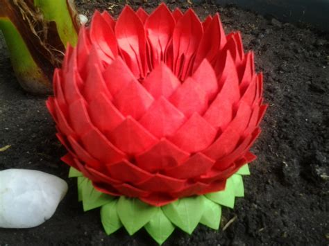 Origami Flowers Lotus - origami lotus flower by alexandramartazan on deviantart