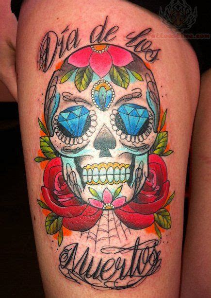 sugar skull tattoo diamond eyes meaning sugar skull with color diamond eyes tattoo tattoos