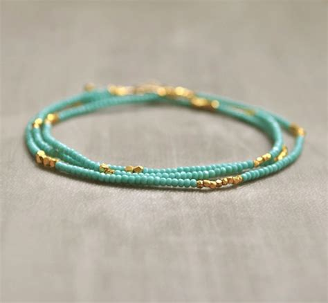 seed bead jewelry turquoise seed bead necklace bracelet with gold vermeil