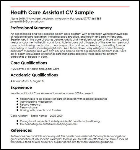 cv template care assistant health care assistant cv sle myperfectcv