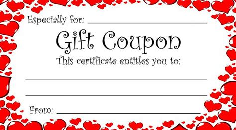 Gift Cards Coupon - heart theme gift coupon for valentine s day or any time of year you can print these