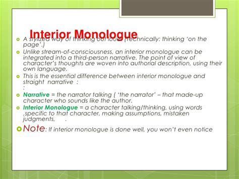 Exles Of Interior Monologue In Literature by Of Consciousness