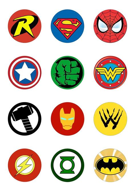 printable marvel stickers 12 round 50mm circle superhero logo edible wafer paper