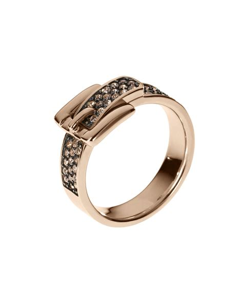 Michael Kors Ring by Michael Kors Pave Buckle Ring Golden In Gold 7 Lyst