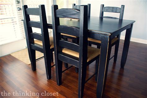 Black Distressed Kitchen Table Black Distressed Table Makeover The Thinking Closet