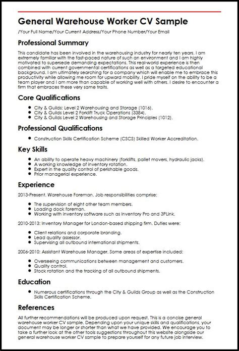 sample lawn care worker resume warehouse examples for delivery