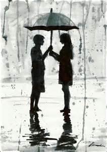print art under umbrella love rain couple ink drawing by
