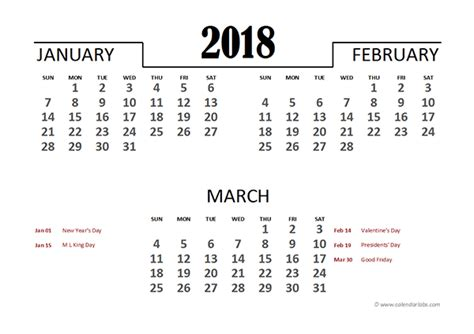 quarterly calendar 2018 template 2018 excel quarterly calendar template free printable