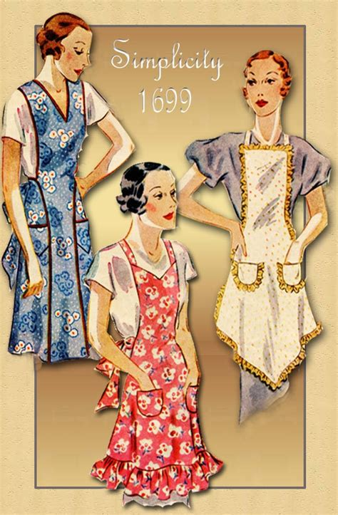 apron pattern simplicity 1930s apron pattern simplicity 1699 bibbed apron with